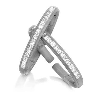 A Pair Of Diamond And Sand-blasted Cuff Bracelets, By Hemmerle