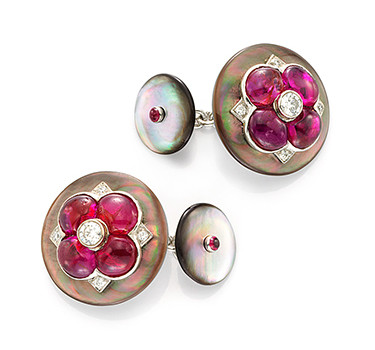 A Pair Of Mother Of Pearl And Ruby Cufflinks, By Bhagat