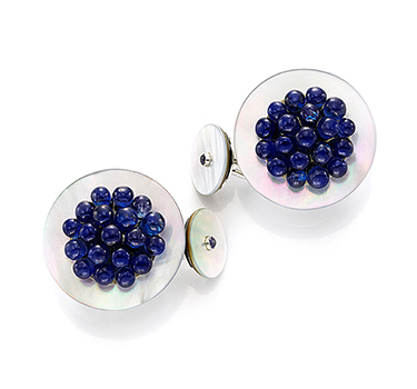 A Pair Of Mother Of Pearl And Sapphire Cufflinks, By Bhagat