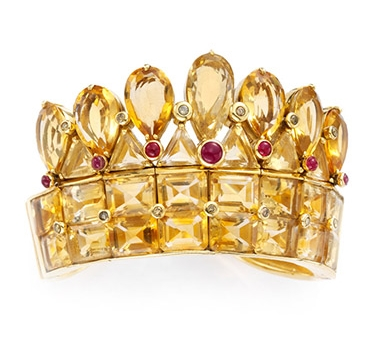 A Citrine, Ruby And Diamond Cuff Bracelet, By Rene Boivin