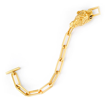 A Gold Lion Head and Gold Link Bracelet, by Gucci, circa 1960