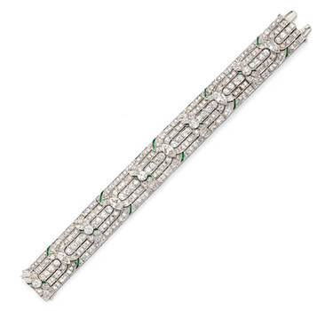 An Art Deco Diamond And Emerald Bracelet, Circa 1925