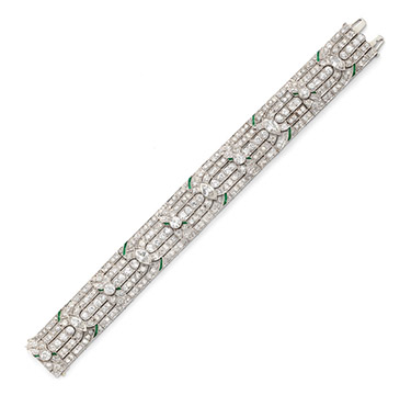 An Art Deco Diamond and Emerald Bracelet, circa 1925