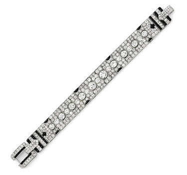 An Art Deco Onyx And Diamond Bracelet, Circa 1920