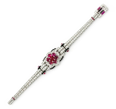 An Art Deco Ruby, Diamond And Enamel Bracelet, By Cartier, Circa 1925