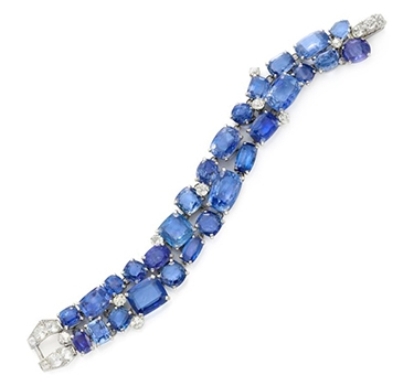 A Sapphire And Diamond Bracelet, By Cartier, Circa 1935