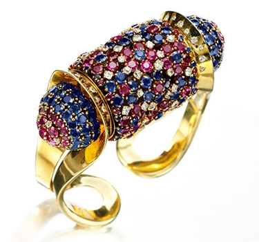 A Retro Sapphire, Ruby And Diamond Cuff Bracelet, By John Rubel, Circa 1940