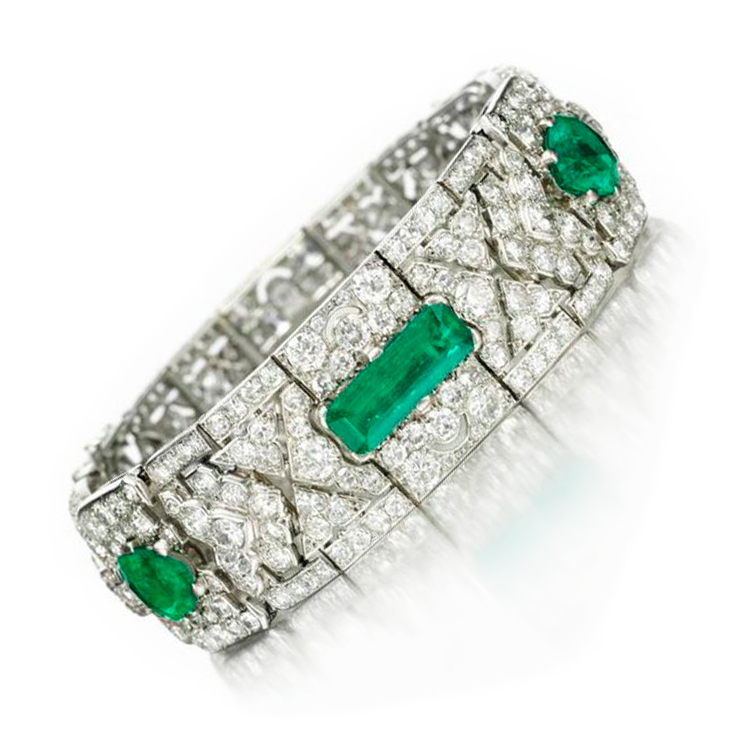 An Art Deco Emerald and Diamond Bracelet, by Cartier, circa 1925