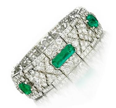 An Art Deco Emerald And Diamond Bracelet, By Cartier, Circa 1925