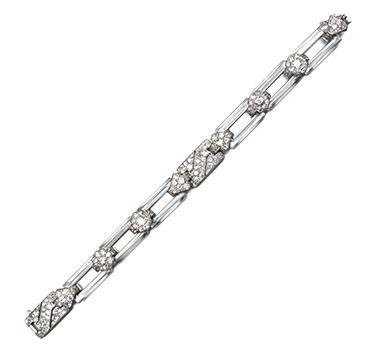 An Art Deco Diamond And Rock Crystal Bracelet, By Cartier, Circa 1925