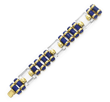 A Rock Crystal And Lapis Lazuli Bracelet, By Cartier