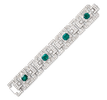 An Art Deco Colombian Emerald And Diamond Bracelet, Circa 1925