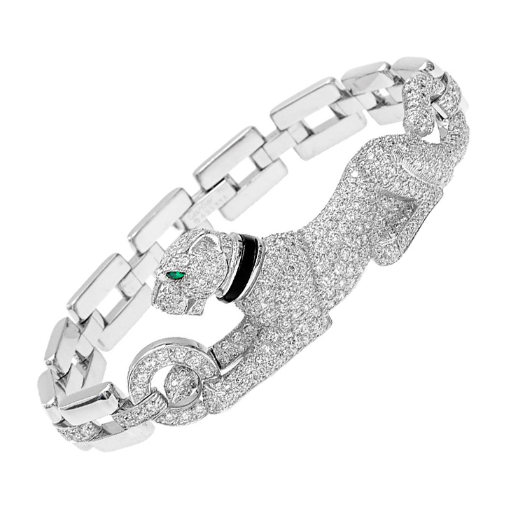 A Diamond And Onyx Panther Bracelet By Cartier