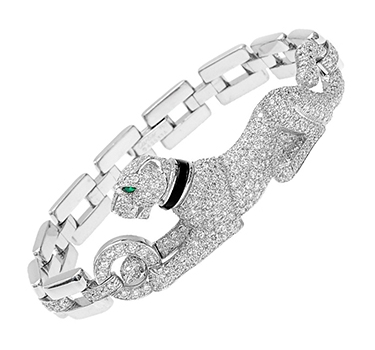 A Diamond And Onyx Panther Bracelet, By Cartier
