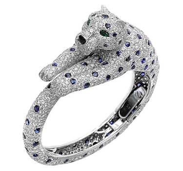 A Sapphire, Emerald And Diamond Panther Bracelet, By Cartier