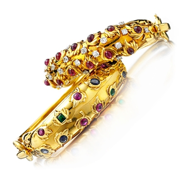 A Pair Of Retro Multi-gem Bangles, By Cartier, Circa 1945