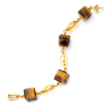A Tiger's Eye and Gold Bracelet, circa 1960
