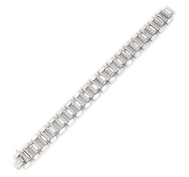 An Art Deco Diamond And Platinum Bracelet, By Cartier, Circa 1930
