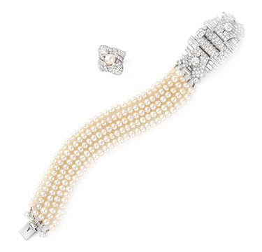 An Art Deco Natural Pearl and Diamond Bracelet, by Cartier, circa 1930