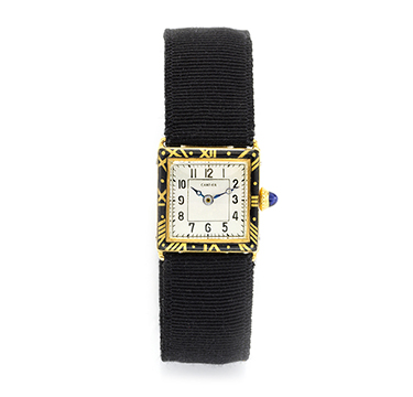 An Art Deco Enamel and Gold Wristwatch, by Cartier, circa 1920