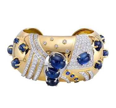 A Sapphire And Diamond Cuff Bracelet, By Seaman Schepps