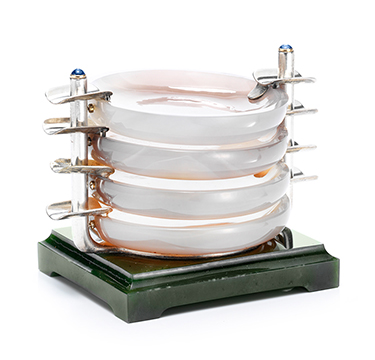 A Set of Art Deco Agate and Jadeite Ashtrays, by Cartier