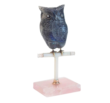 A Belle Epoque Carved Labradorite Owl Objet, By Cartier