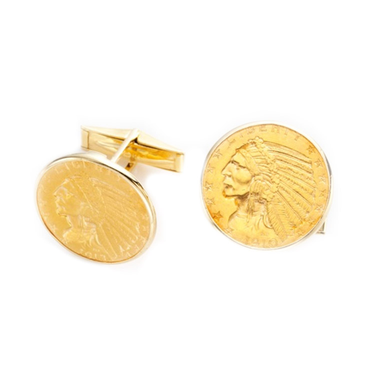 A Pair of Coin Cufflinks, by Cartier