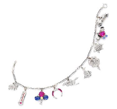 An Art Deco Multi-gem And Diamond Charm Bracelet