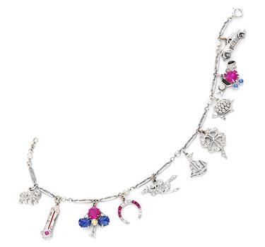 An Art Deco Multi-gem And Diamond Charm Bracelet