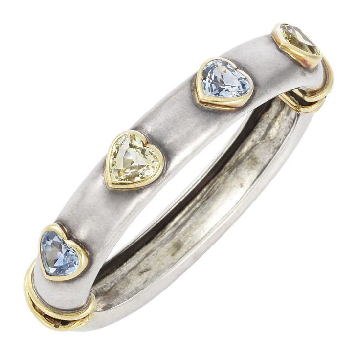 A Multi-colored Sapphire, Gold and Silver Bangle Bracelet