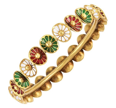 An Antique Enamel And Gold Bangle