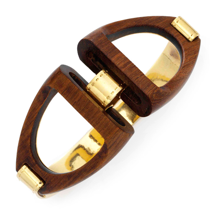 A Wood and Gold Cuff Bracelet, by Guy Freres, circa 1970