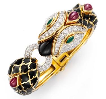 A Multi-gem And Enamel Snake Bracelet, By David Webb