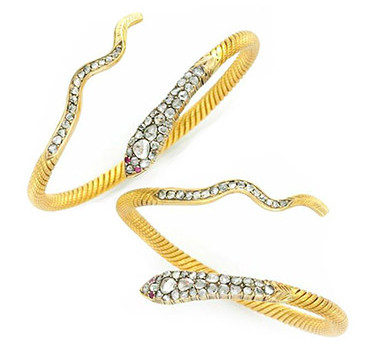 A Pair Of Antique Diamond And Ruby Serpent Bangle Bracelets, Circa 19th Century