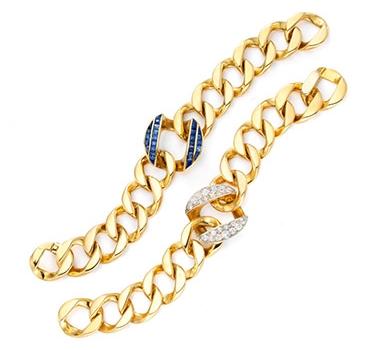 A Pair Of Sapphire And Diamond Bracelets, By Seaman Schepps