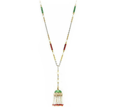 A Victorian Enamel, Seed Pearl And Diamond Tassel Necklace, Circa 1890