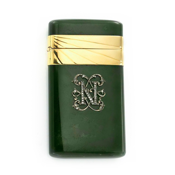 Cigarette Diamond: A Jadeite, Diamond And Gold Cigarette Case