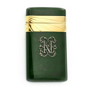 A Jadeite, Diamond And Gold Cigarette Case