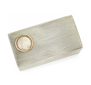 A Large Silver Cigar Box, By Faberge