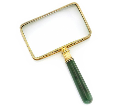 A Silver-Gilt And Nephrite Magnifying Glass, By Faberge