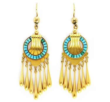 A Pair Of Antique Gold And Turquoise Ear Pendants