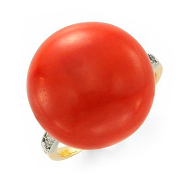 An Art Deco Coral And Diamond Ring