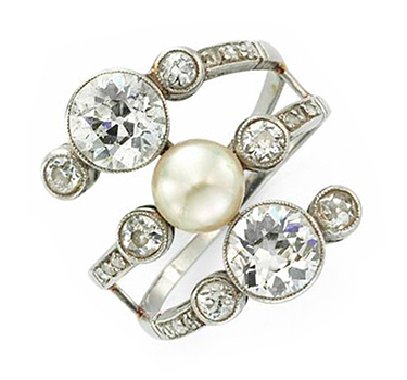 An Early 20th Century Natural Pearl And Diamond Ring