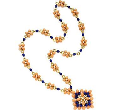A Lapis Lazuli, Coral And Diamond Sautoir, By Van Cleef & Arpels, Circa 1970
