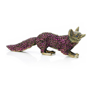An Early 20th Century Ruby, Sapphire And Gilt Stylized Fox Object, Circa 1910