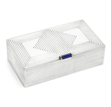 A Lapis Lazuli and Silver Cigarette Box, by Cartier