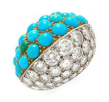 A Turquoise And Diamond 'Boule' Ring, By Cartier, Circa 1950