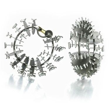 A Pair Of Diamond And Titanium Earrings, By SABBA