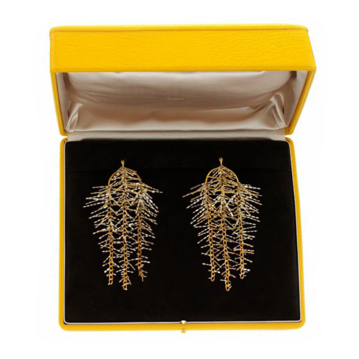 A Pair of Gold and Baguette-cut Diamond Ear Pendants, by SABBA
